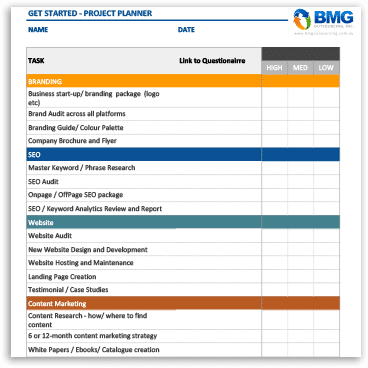 BMG Outsourcing Project Planner